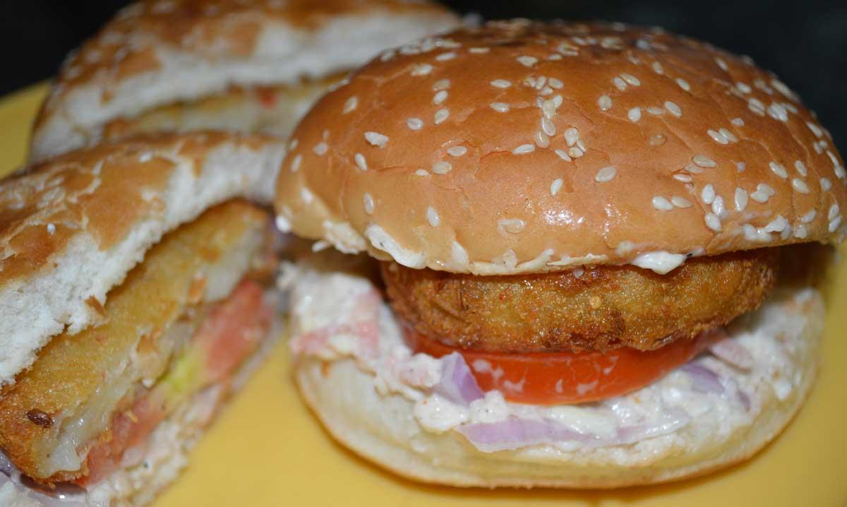 aloo tikki burger, veg burger recipe