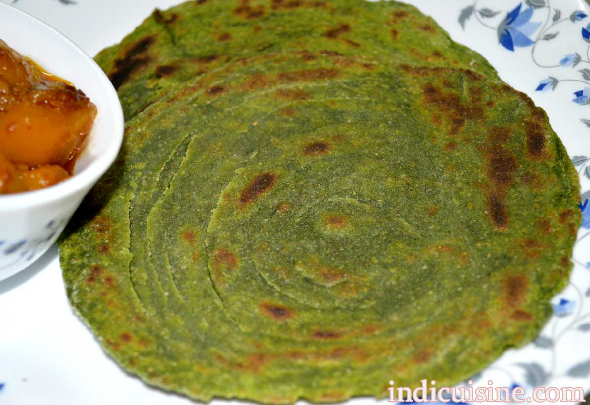 how to make methi paratha image, fenugreek paratha