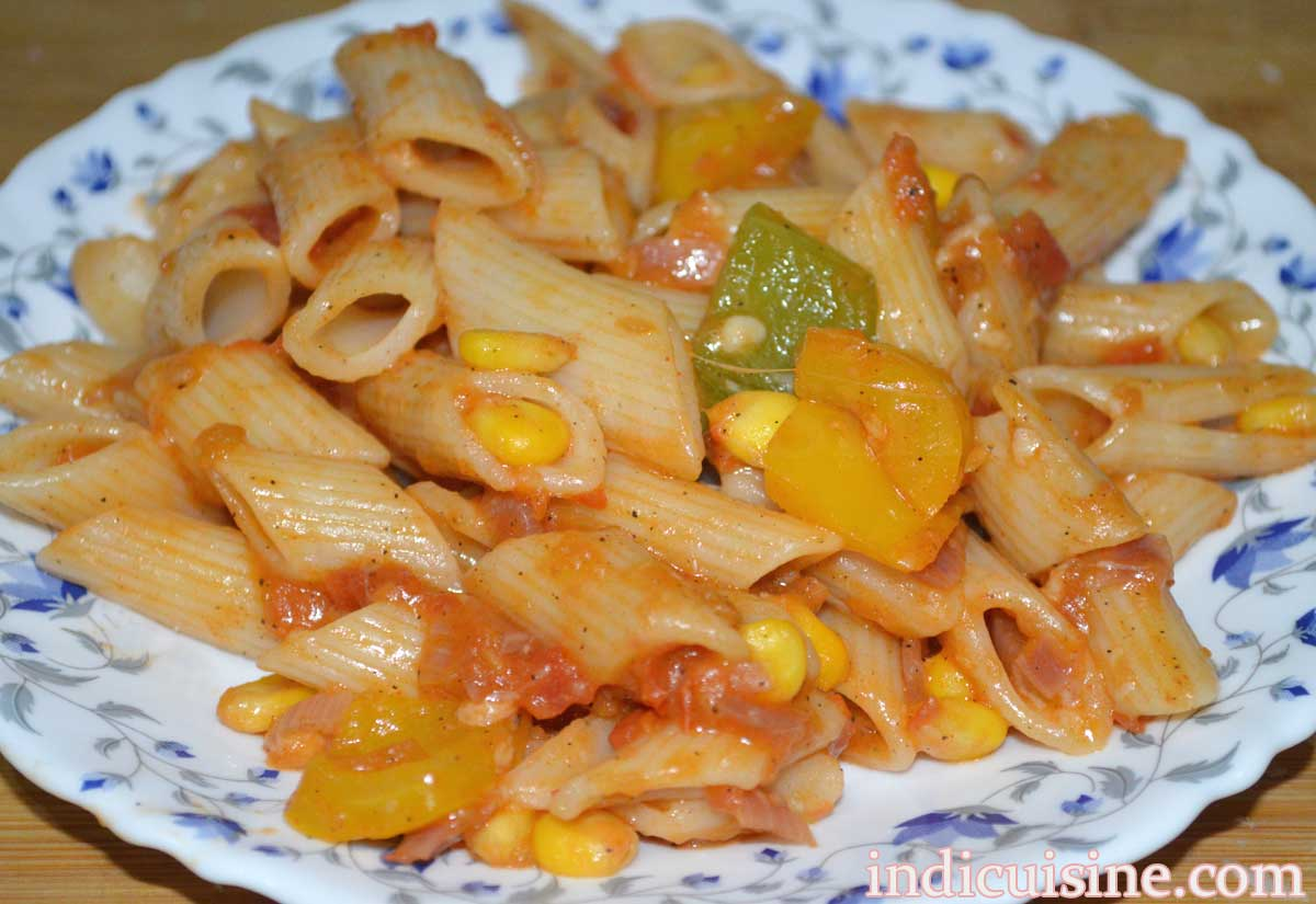 red sauce pasta with sweet corn and capsicum final image