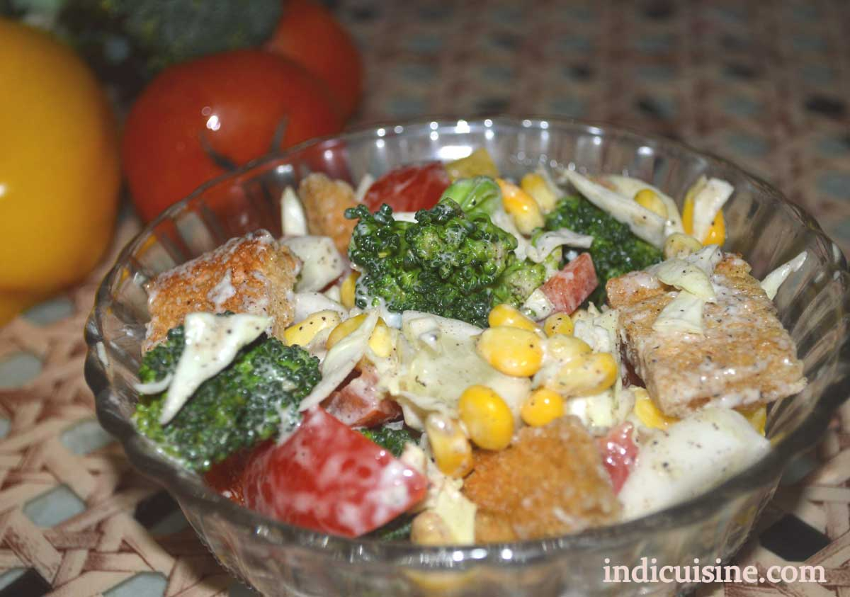 Creamy Vegetable Salad Recipe How To Make Veg Salad Indian Cuisine